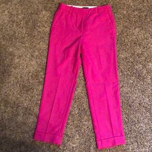Hot Pink J Crew Cropped Work Trousers